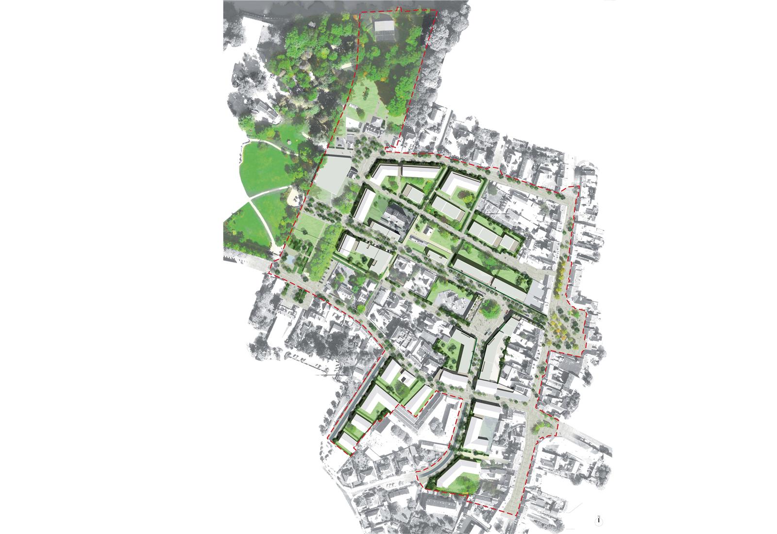 Oliv am nagement urbain du centre ville d olivet mu for Plan masse architecture