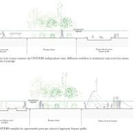 Coupe d'aménagement urbain sur le parvis